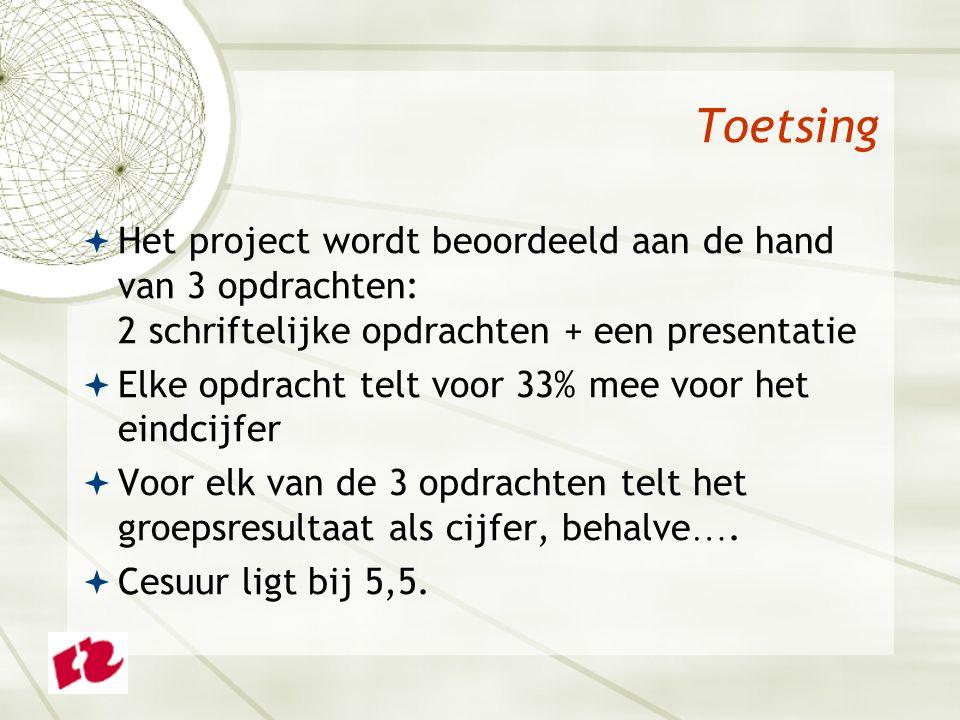 Toetsing  Het project wordt beoordeeld aan de hand van 3 opdrachten: 2 schriftelijke opdrachten + een presentatie  Elke opdracht telt voor 33% mee voor het eindcijfer  Voor elk van de 3 opdrachten telt het groepsresultaat als cijfer, behalve ….