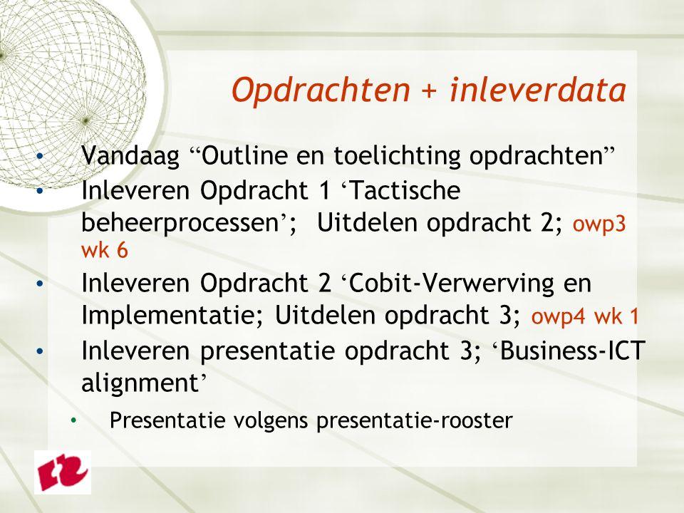 Opdrachten + inleverdata Vandaag Outline en toelichting opdrachten Inleveren Opdracht 1 ' Tactische beheerprocessen ' ; Uitdelen opdracht 2; owp3 wk 6 Inleveren Opdracht 2 ' Cobit-Verwerving en Implementatie; Uitdelen opdracht 3; owp4 wk 1 Inleveren presentatie opdracht 3; ' Business-ICT alignment ' Presentatie volgens presentatie-rooster