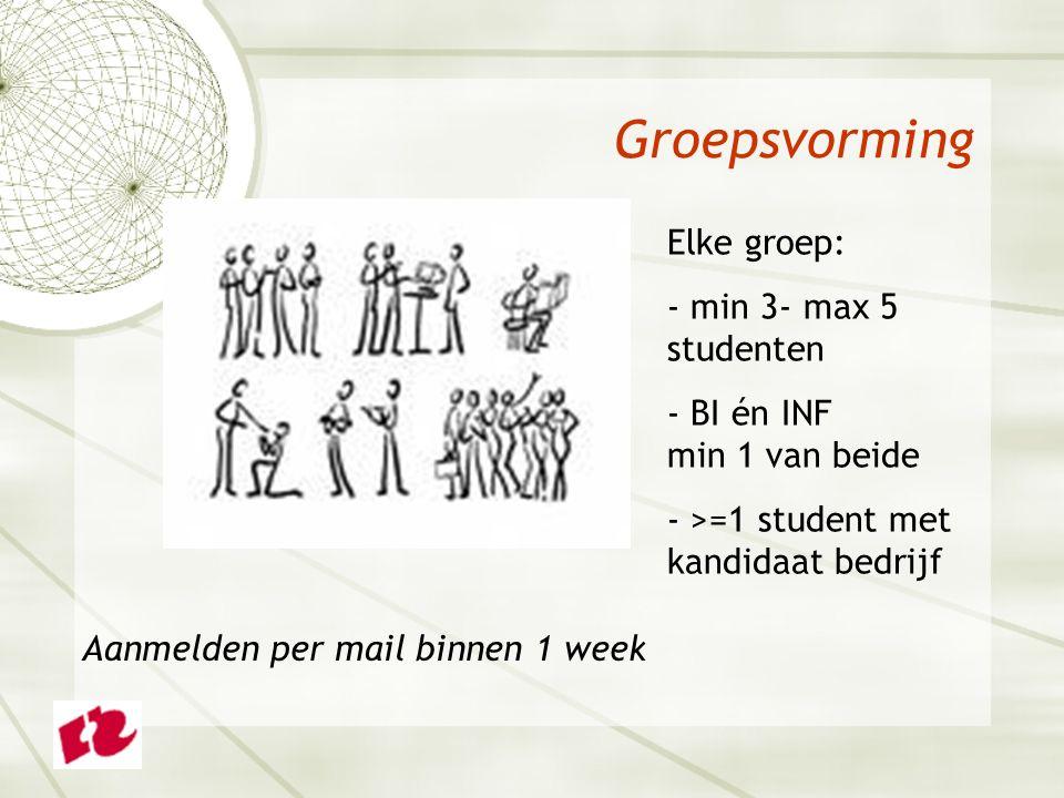 Groepsvorming Elke groep: - min 3- max 5 studenten - BI én INF min 1 van beide - >=1 student met kandidaat bedrijf Aanmelden per mail binnen 1 week