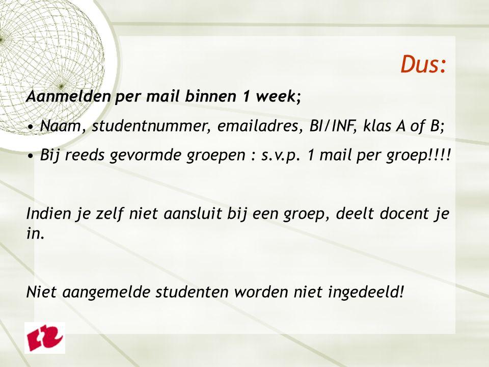 Dus: Aanmelden per mail binnen 1 week; Naam, studentnummer, emailadres, BI/INF, klas A of B; Bij reeds gevormde groepen : s.v.p.