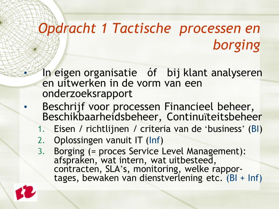 Opdracht 1 Tactische processen en borging In eigen organisatie óf bij klant analyseren en uitwerken in de vorm van een onderzoeksrapport Beschrijf voor processen Financieel beheer, Beschikbaarheidsbeheer, Continu ï teitsbeheer 1.