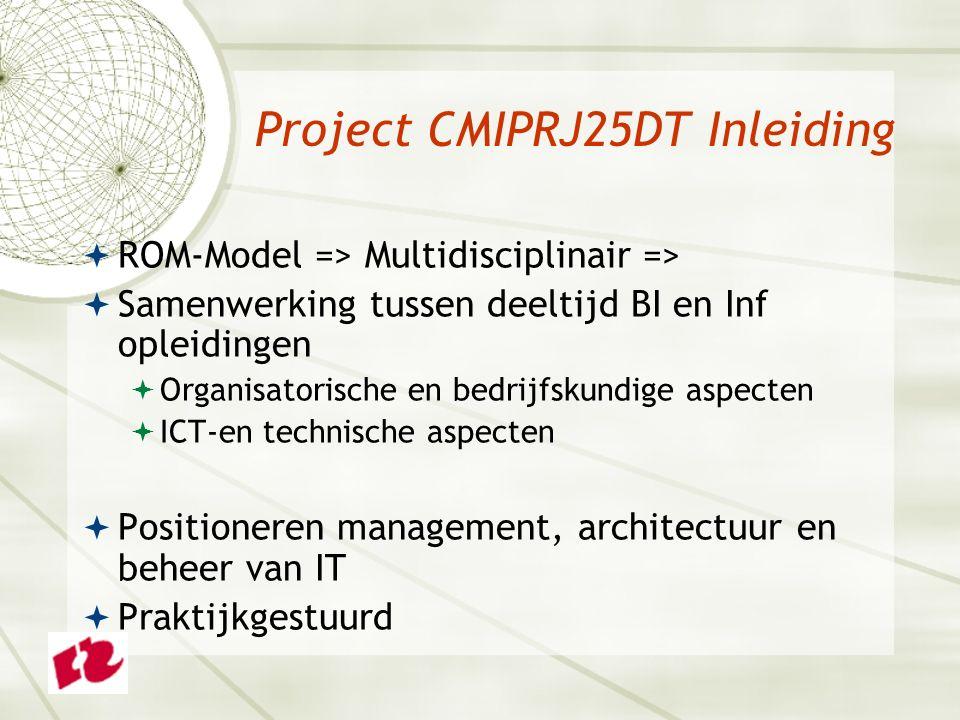 Project CMIPRJ25DT Inleiding  ROM-Model => Multidisciplinair =>  Samenwerking tussen deeltijd BI en Inf opleidingen  Organisatorische en bedrijfskundige aspecten  ICT-en technische aspecten  Positioneren management, architectuur en beheer van IT  Praktijkgestuurd