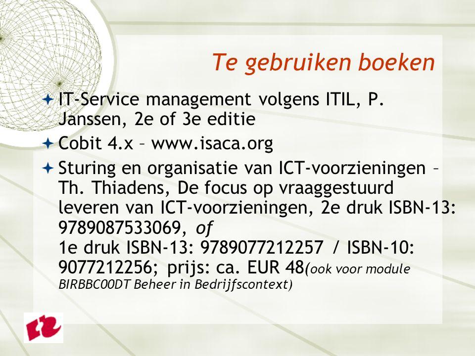 Te gebruiken boeken  IT-Service management volgens ITIL, P.