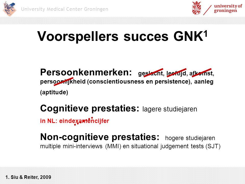 Voorspellers succes GNK 1 Persoonkenmerken: geslacht, leeftijd, afkomst, persoonlijkheid (conscientiousness en persistence), aanleg (aptitude) Cogniti