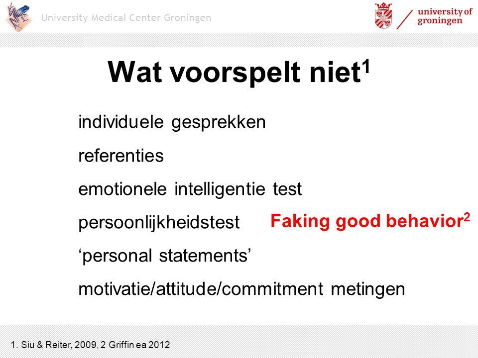 Wat voorspelt niet 1 individuele gesprekken referenties emotionele intelligentie test persoonlijkheidstest 'personal statements' motivatie/attitude/co