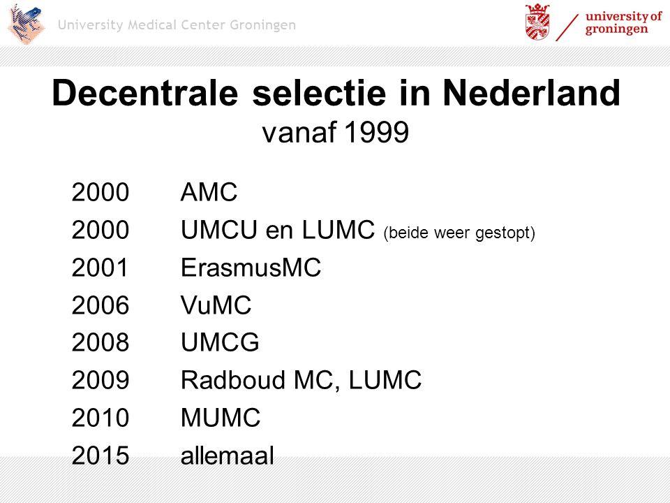 Decentrale selectie in Nederland vanaf 1999 2000AMC 2000UMCU en LUMC (beide weer gestopt) 2001ErasmusMC 2006VuMC 2008UMCG 2009Radboud MC, LUMC 2010MUM