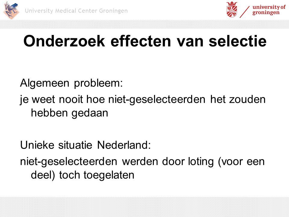 Onderzoek effecten van selectie Algemeen probleem: je weet nooit hoe niet-geselecteerden het zouden hebben gedaan Unieke situatie Nederland: niet-gese
