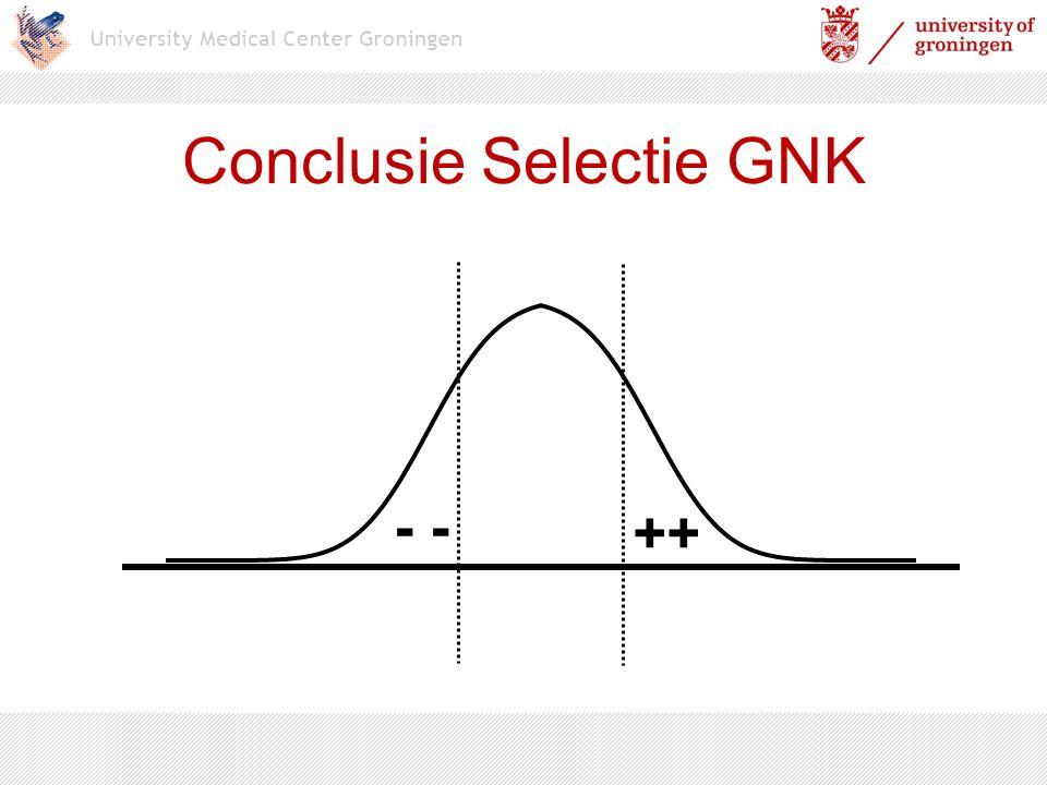 Conclusie Selectie GNK ++ -