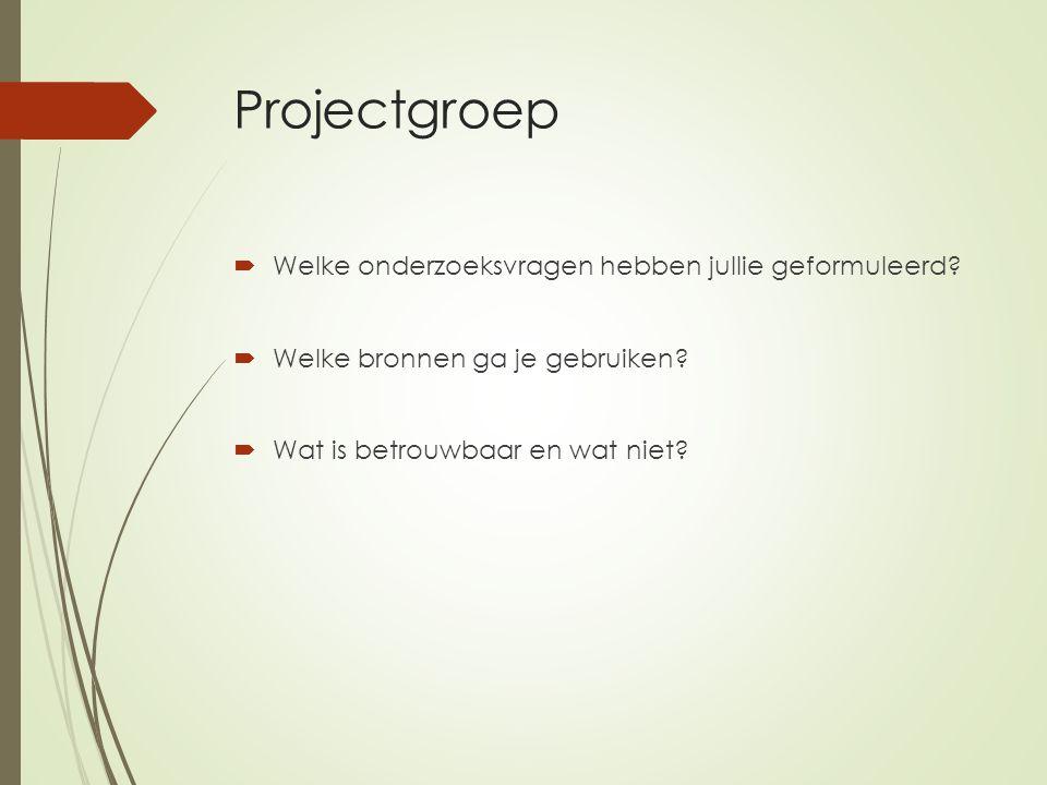 Projectgroep  Welke onderzoeksvragen hebben jullie geformuleerd.