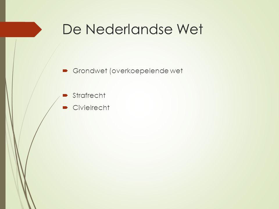 De Nederlandse Wet  Grondwet (overkoepelende wet  Strafrecht  Civielrecht