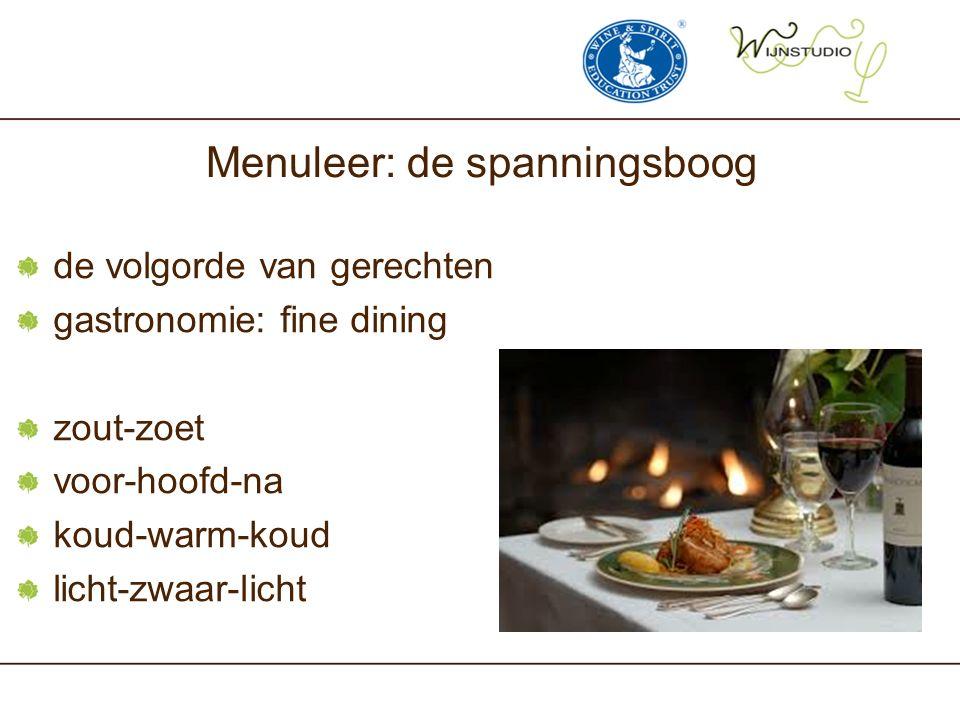 Menuleer: de spanningsboog de volgorde van gerechten gastronomie: fine dining zout-zoet voor-hoofd-na koud-warm-koud licht-zwaar-licht
