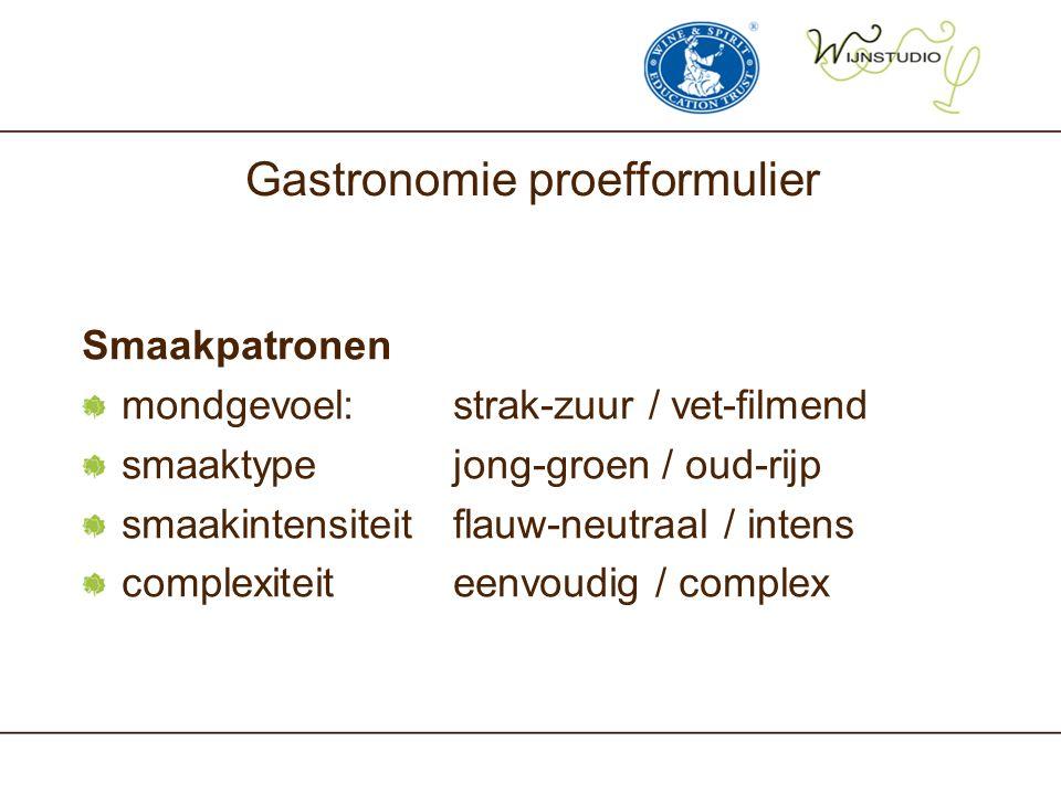 Gastronomie proefformulier Smaakpatronen mondgevoel: strak-zuur / vet-filmend smaaktypejong-groen / oud-rijp smaakintensiteitflauw-neutraal / intens c