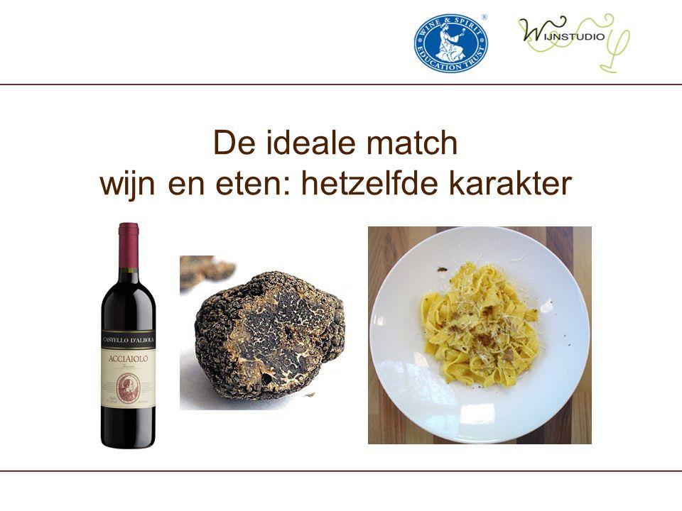 Traditioneel: rode wijn bij vlees, witte wijn bij vis Rode wijn +Vlees + Rode wijn -Vlees -Witte wijn +Vis + Witte wijn -Vis - Modern: