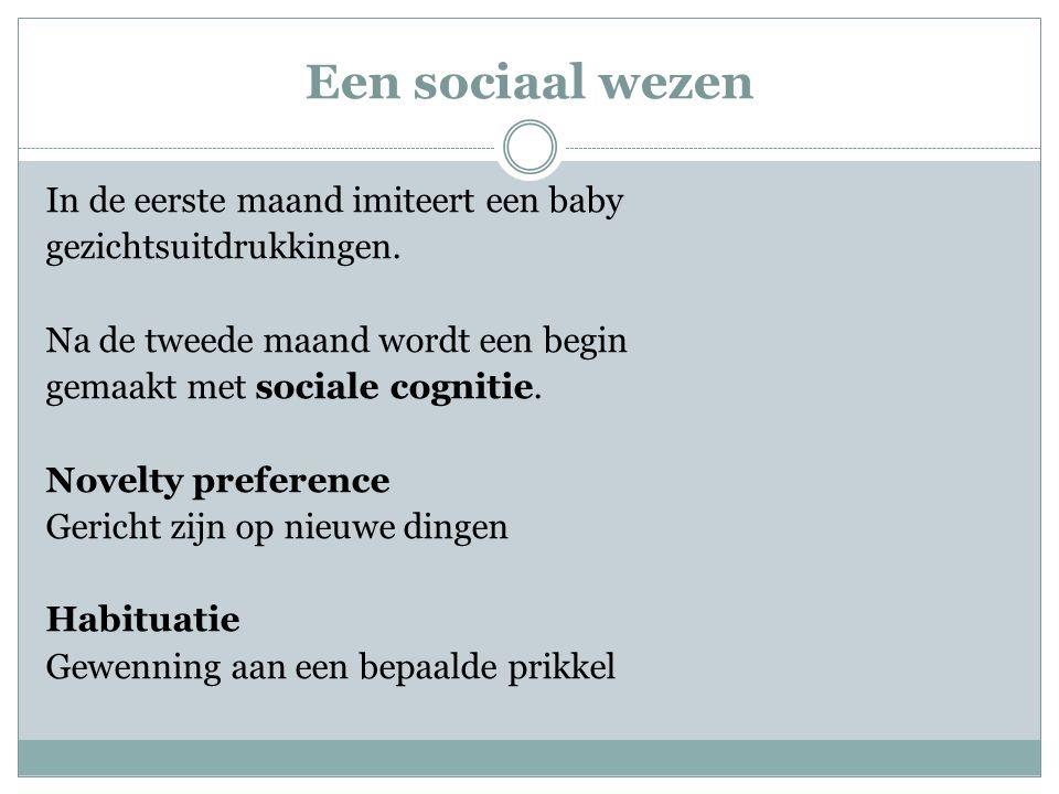 Een sociaal wezen In de eerste maand imiteert een baby gezichtsuitdrukkingen. Na de tweede maand wordt een begin gemaakt met sociale cognitie. Novelty