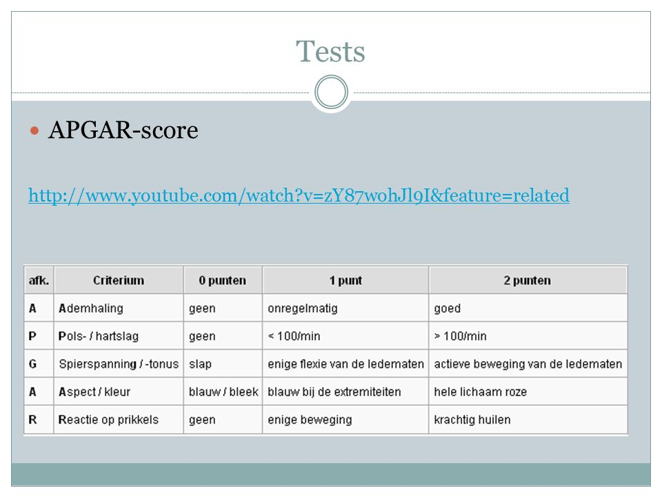 Tests APGAR-score http://www.youtube.com/watch?v=zY87wohJl9I&feature=related