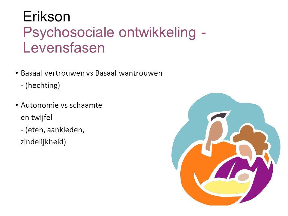 Erikson Psychosociale ontwikkeling - Levensfasen Basaal vertrouwen vs Basaal wantrouwen - (hechting) Autonomie vs schaamte en twijfel - (eten, aankled