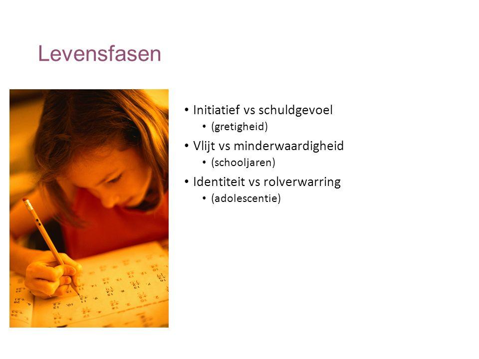Levensfasen Initiatief vs schuldgevoel (gretigheid) Vlijt vs minderwaardigheid (schooljaren) Identiteit vs rolverwarring (adolescentie)
