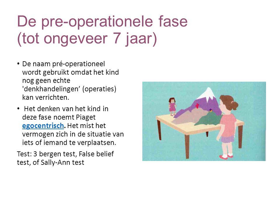 De pre-operationele fase (tot ongeveer 7 jaar) De naam pré-operationeel wordt gebruikt omdat het kind nog geen echte 'denkhandelingen' (operaties) kan