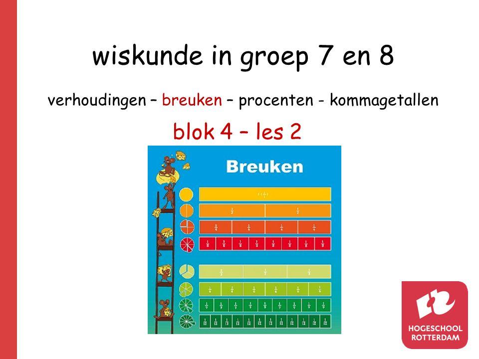 wiskunde in groep 7 en 8 verhoudingen – breuken – procenten - kommagetallen blok 4 – les 2