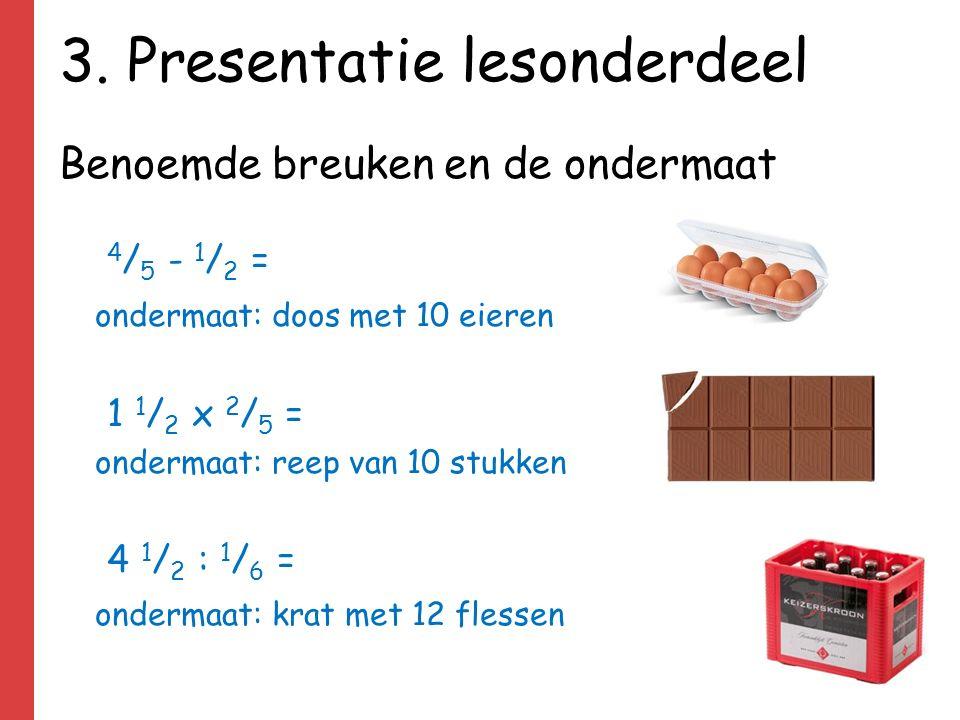 3. Presentatie lesonderdeel Benoemde breuken en de ondermaat 4 / 5 - 1 / 2 = ondermaat: doos met 10 eieren 1 1 / 2 x 2 / 5 = ondermaat: reep van 10 st