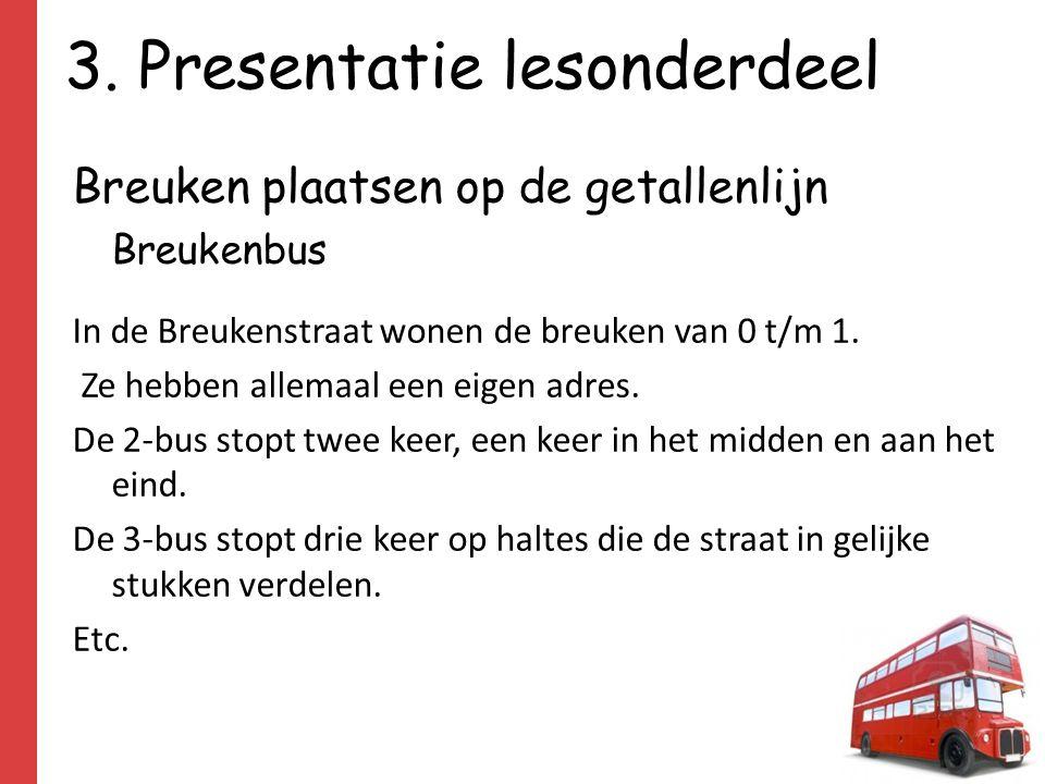 3. Presentatie lesonderdeel Breuken plaatsen op de getallenlijn Breukenbus In de Breukenstraat wonen de breuken van 0 t/m 1. Ze hebben allemaal een ei