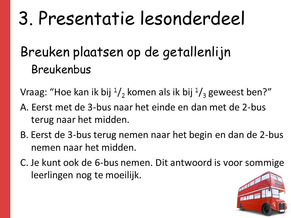 """3. Presentatie lesonderdeel Breuken plaatsen op de getallenlijn Breukenbus Vraag: """"Hoe kan ik bij 1 / 2 komen als ik bij 1 / 3 geweest ben?"""" A. Eerst"""