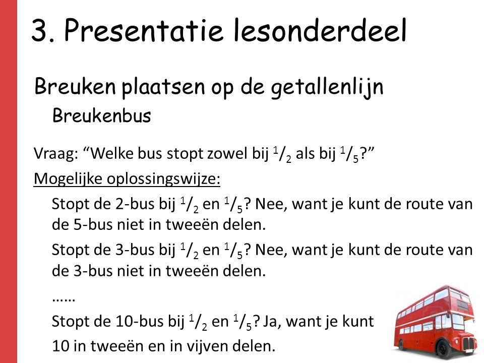"""3. Presentatie lesonderdeel Breuken plaatsen op de getallenlijn Breukenbus Vraag: """"Welke bus stopt zowel bij 1 / 2 als bij 1 / 5 ?"""" Mogelijke oplossin"""