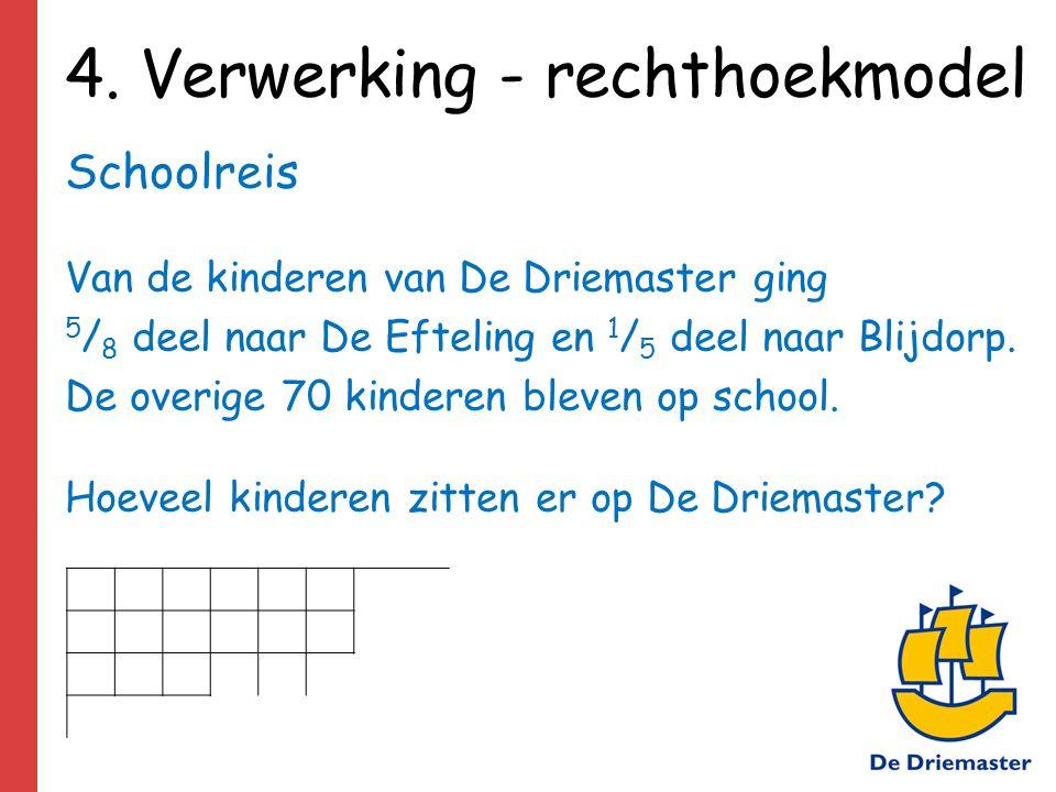 4. Verwerking - rechthoekmodel Schoolreis Van de kinderen van De Driemaster ging 5 / 8 deel naar De Efteling en 1 / 5 deel naar Blijdorp. De overige 7