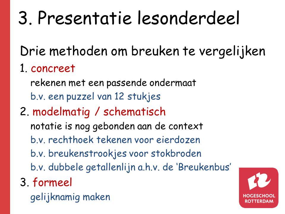 3. Presentatie lesonderdeel Drie methoden om breuken te vergelijken 1.