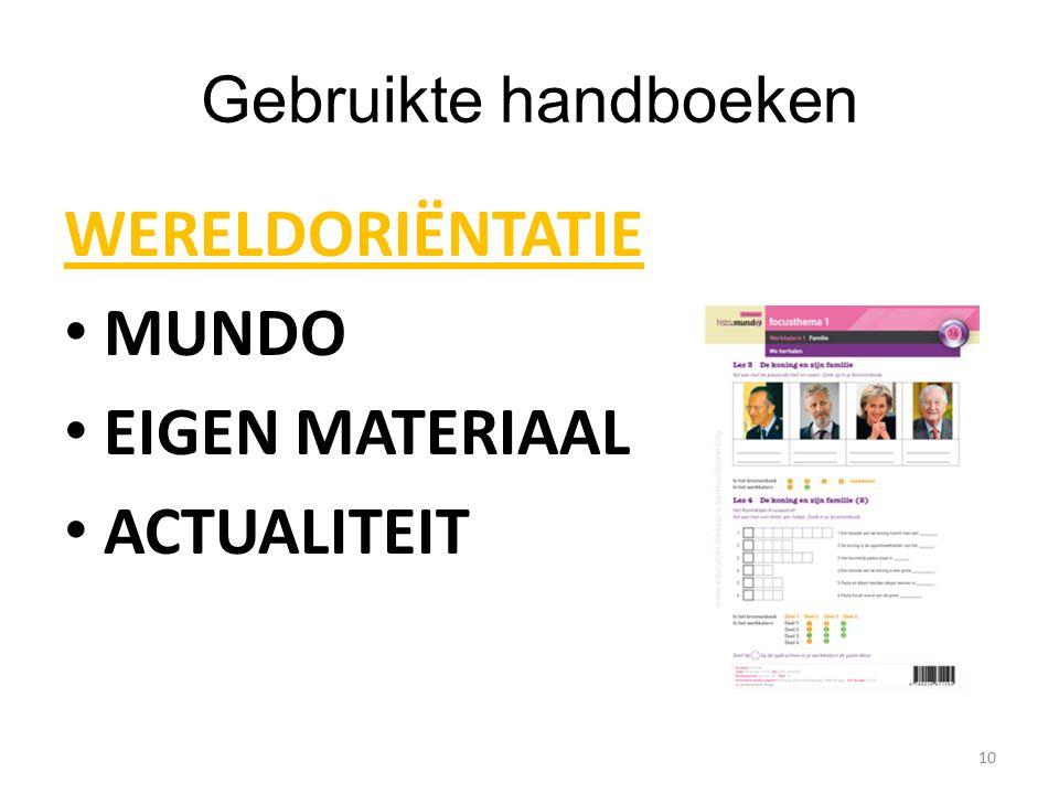 Gebruikte handboeken WERELDORIËNTATIE MUNDO EIGEN MATERIAAL ACTUALITEIT 10