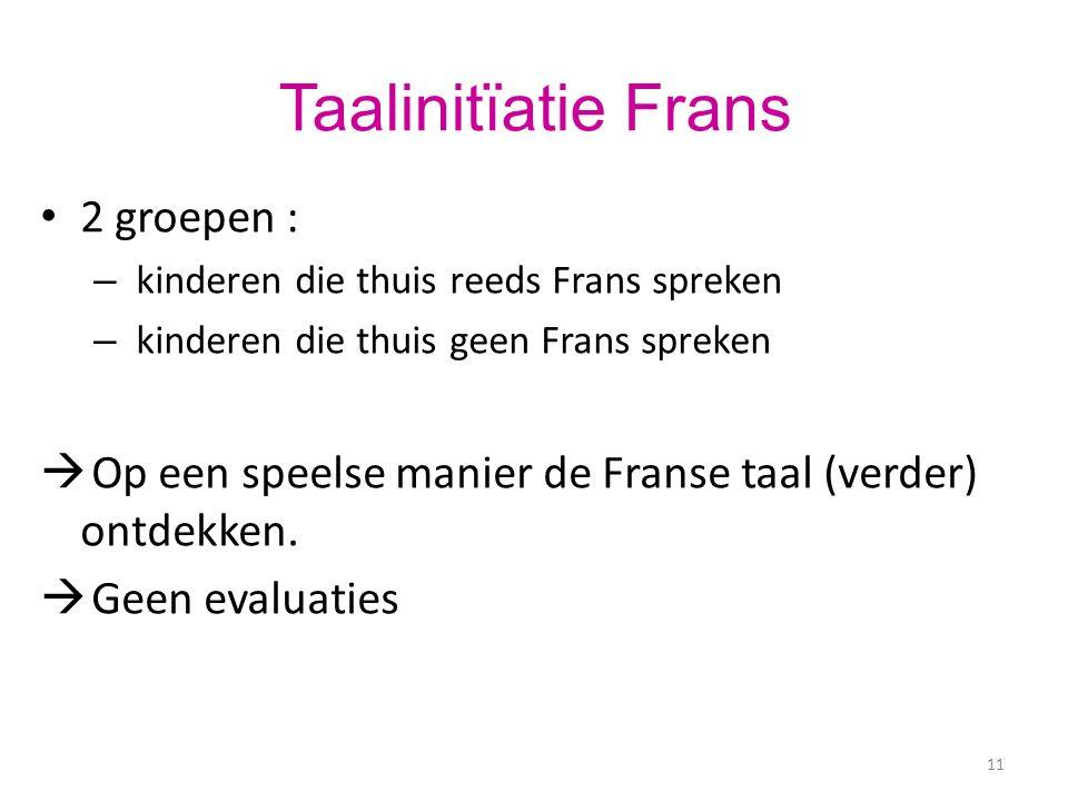 11 Taalinitïatie Frans 2 groepen : – kinderen die thuis reeds Frans spreken – kinderen die thuis geen Frans spreken  Op een speelse manier de Franse