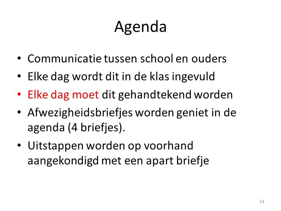 Agenda Communicatie tussen school en ouders Elke dag wordt dit in de klas ingevuld Elke dag moet dit gehandtekend worden Afwezigheidsbriefjes worden geniet in de agenda (4 briefjes).