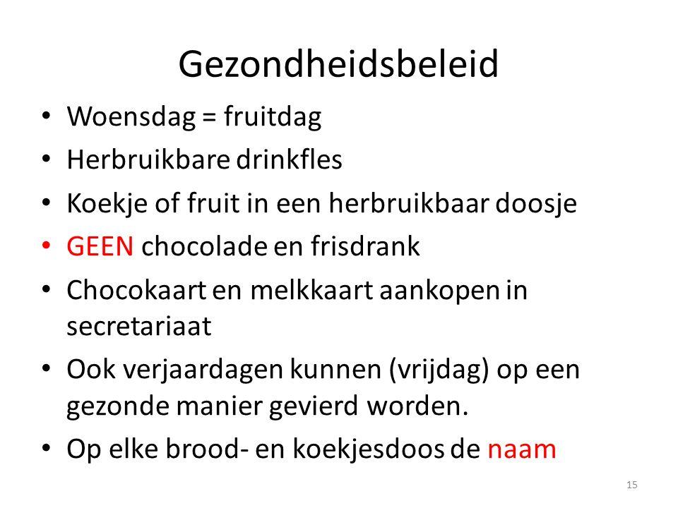 Gezondheidsbeleid Woensdag = fruitdag Herbruikbare drinkfles Koekje of fruit in een herbruikbaar doosje GEEN chocolade en frisdrank Chocokaart en melk