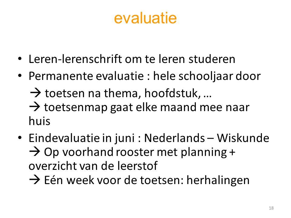 evaluatie Leren-lerenschrift om te leren studeren Permanente evaluatie : hele schooljaar door  toetsen na thema, hoofdstuk, …  toetsenmap gaat elke