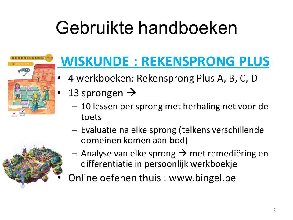 Gebruikte handboeken WISKUNDE : REKENSPRONG PLUS 4 werkboeken: Rekensprong Plus A, B, C, D 13 sprongen  – 10 lessen per sprong met herhaling net voor de toets – Evaluatie na elke sprong (telkens verschillende domeinen komen aan bod) – Analyse van elke sprong  met remediëring en differentiatie in persoonlijk werkboekje Online oefenen thuis : www.bingel.be 2