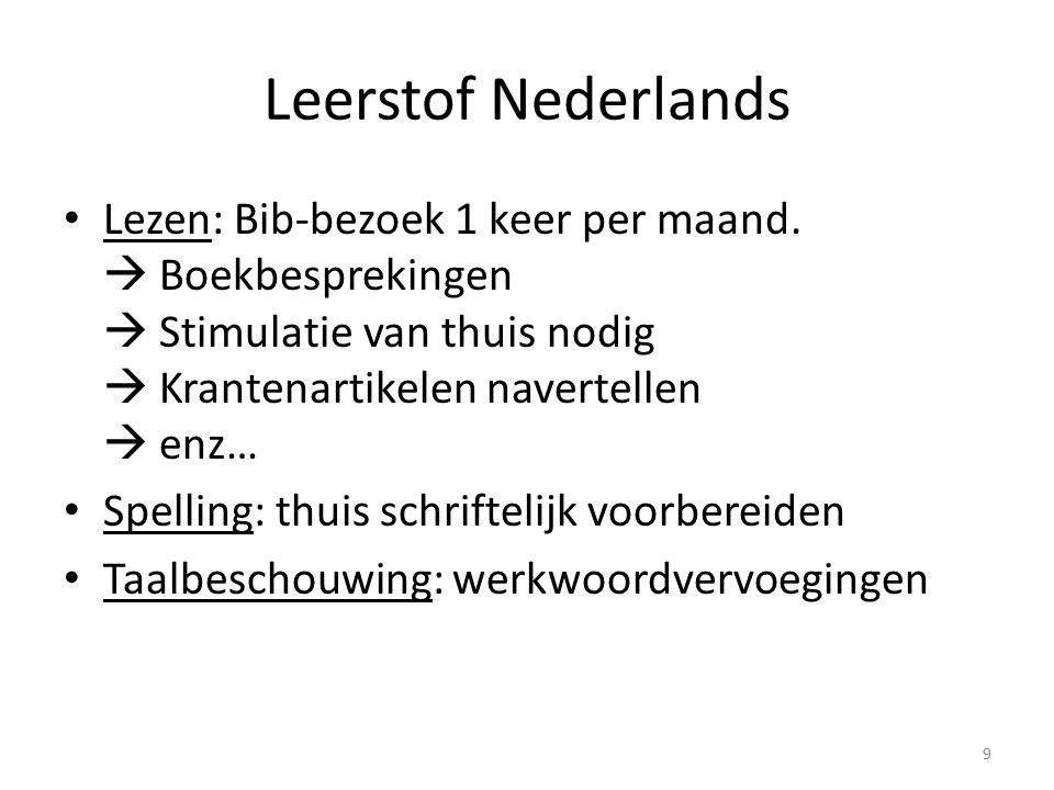 Leerstof Nederlands Lezen: Bib-bezoek 1 keer per maand.  Boekbesprekingen  Stimulatie van thuis nodig  Krantenartikelen navertellen  enz… Spelling