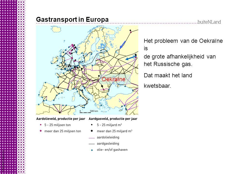 Gastransport in Europa Oekraïne Het probleem van de Oekraïne is de grote afhankelijkheid van het Russische gas.
