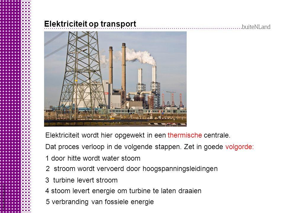 Elektriciteit op transport Elektriciteit wordt hier opgewekt in een centrale.thermische Dat proces verloop in de volgende stappen.