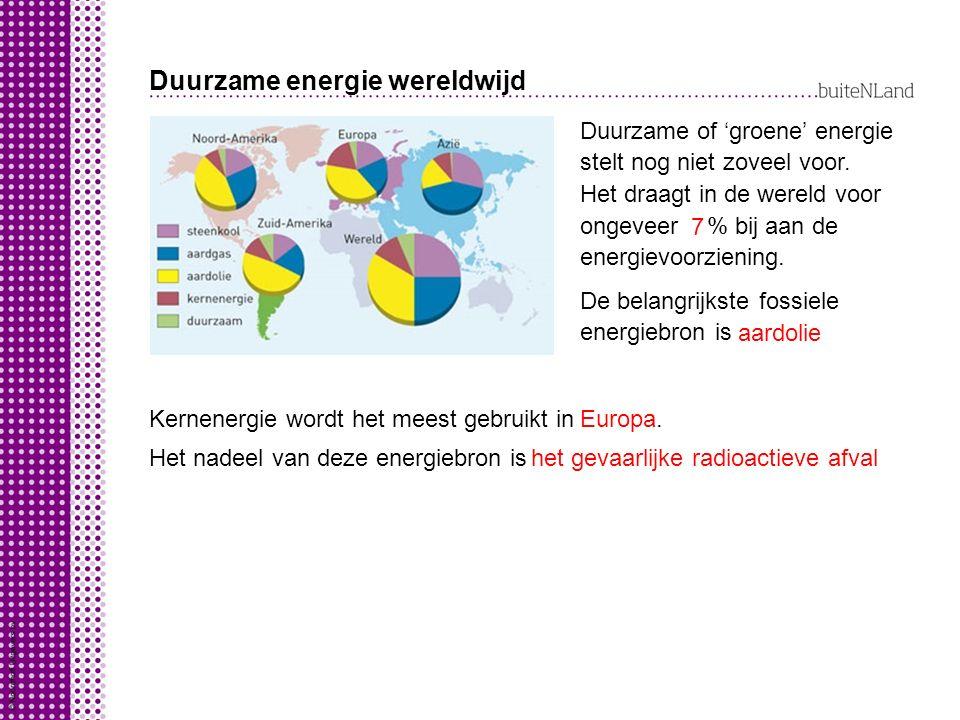 Duurzame energie wereldwijd Duurzame of 'groene' energie stelt nog niet zoveel voor.
