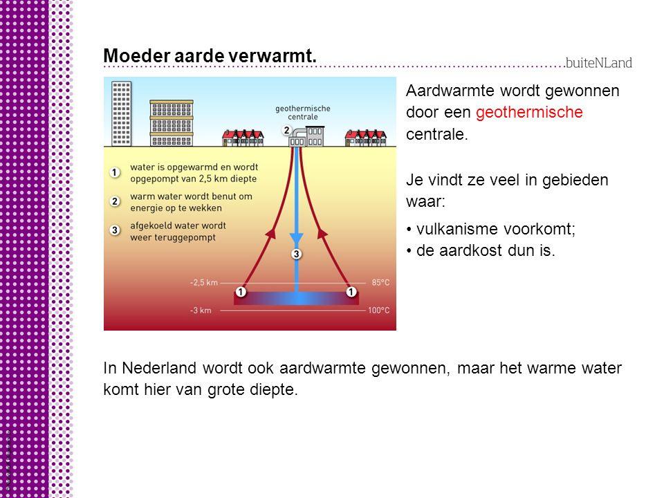 Moeder aarde verwarmt.Aardwarmte wordt gewonnen door een centrale.