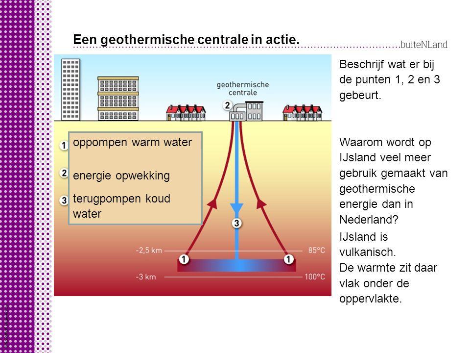 Een geothermische centrale in actie.Beschrijf wat er bij de punten 1, 2 en 3 gebeurt.