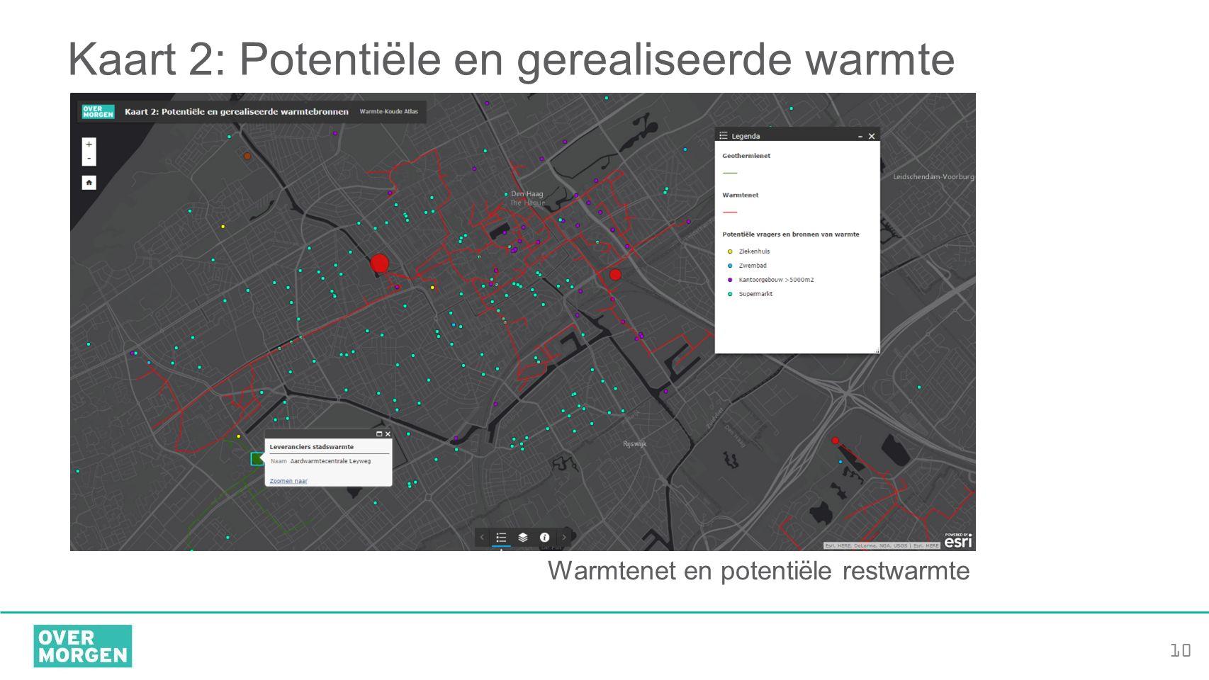 10 Kaart 2: Potentiële en gerealiseerde warmte Warmtenet en potentiële restwarmte