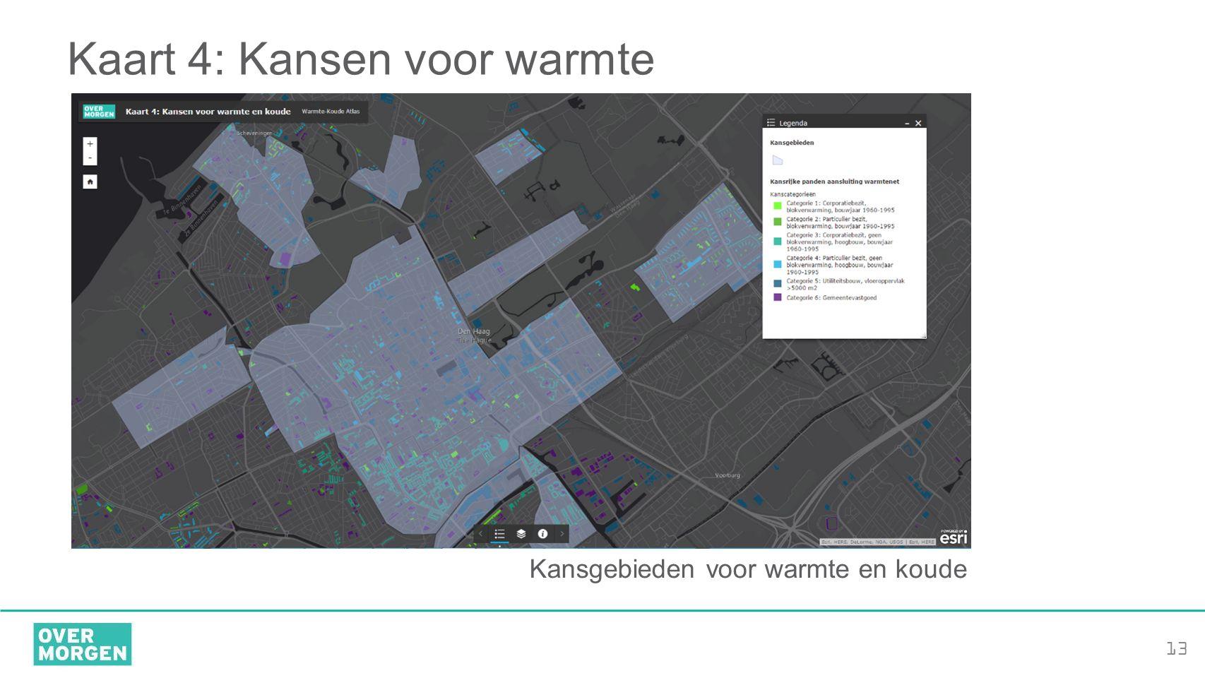 13 Kaart 4: Kansen voor warmte Kansgebieden voor warmte en koude