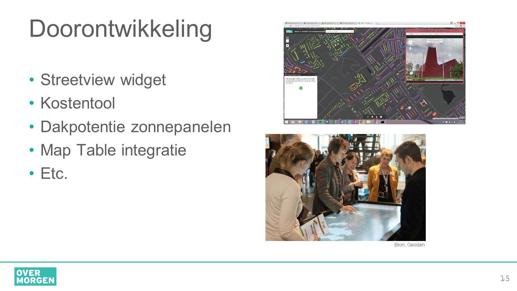 15 Doorontwikkeling Streetview widget Kostentool Dakpotentie zonnepanelen Map Table integratie Etc. Bron: Geodan