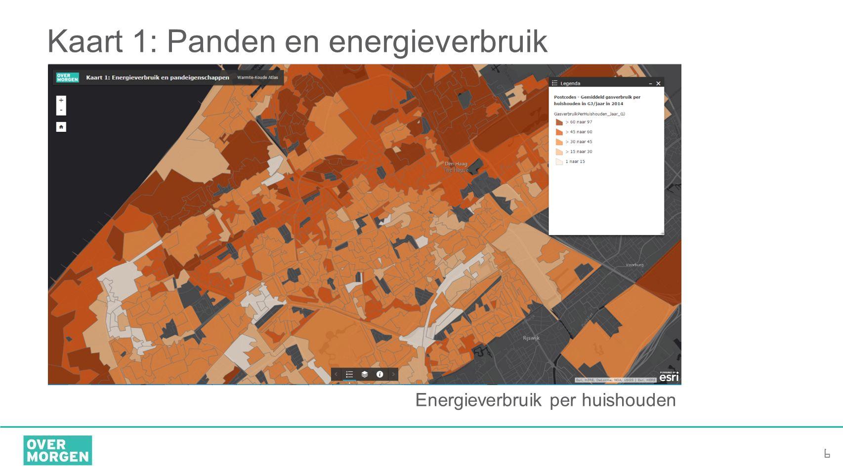 6 Kaart 1: Panden en energieverbruik Energieverbruik per huishouden
