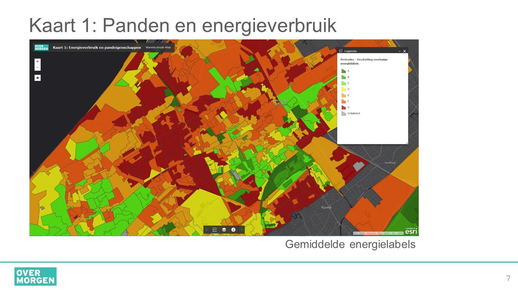 7 Kaart 1: Panden en energieverbruik Gemiddelde energielabels