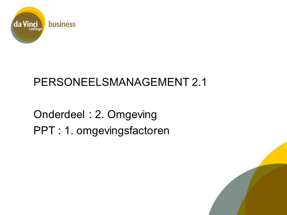 PERSONEELSMANAGEMENT 2.1 Onderdeel : 2. Omgeving PPT : 1. omgevingsfactoren
