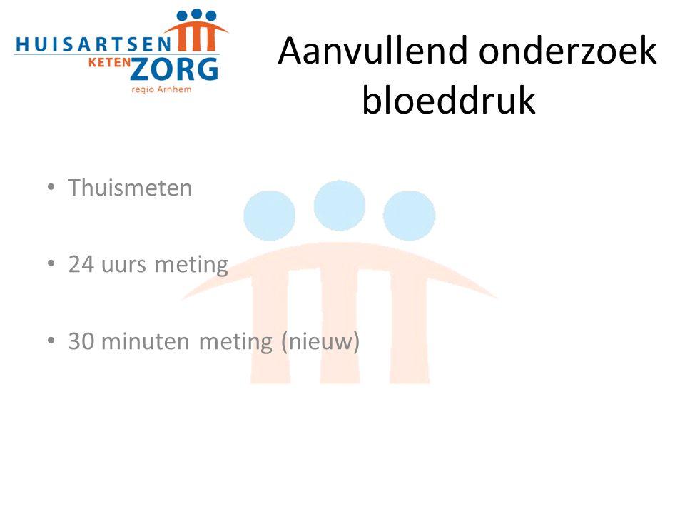 Aanvullend onderzoek bloeddruk Thuismeten 24 uurs meting 30 minuten meting (nieuw)