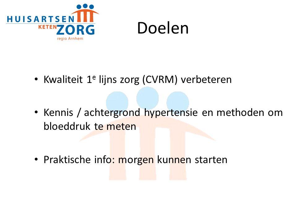 Doelen Kwaliteit 1 e lijns zorg (CVRM) verbeteren Kennis / achtergrond hypertensie en methoden om bloeddruk te meten Praktische info: morgen kunnen starten