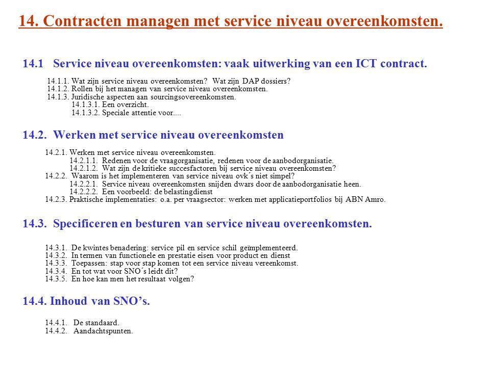 14. Contracten managen met service niveau overeenkomsten. 14.1 Service niveau overeenkomsten: vaak uitwerking van een ICT contract. 14.1.1. Wat zijn s